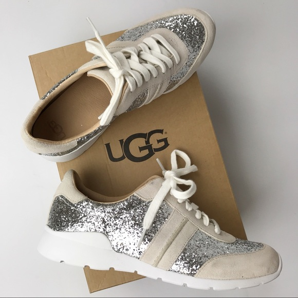 625306e66be UGG | NEW Glitter Jaida Silver Sparkle Sneakers NWT